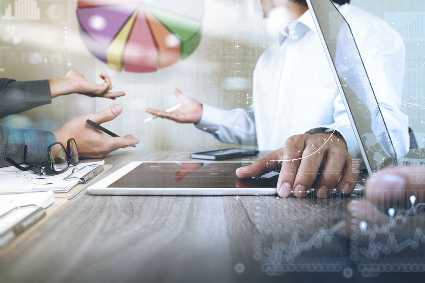 53607481 - businessman making presentation with his colleagues and business strategy digital layer effect at the office as concept